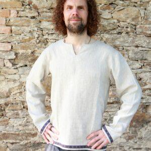 Pánská lněná košile zdobená stuhou